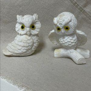 Vintage Carved White Alabaster Owl Set RESCUE